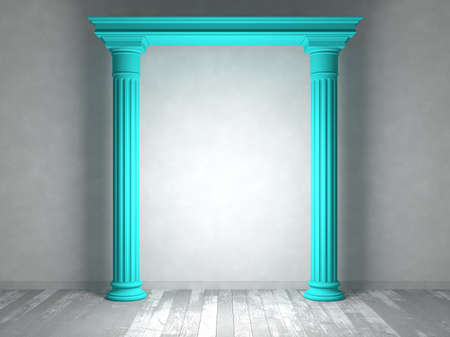 portal: Classical portal with columns in an empty room with parquet floors and light-colored walls