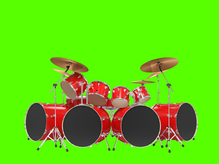 jazz drums: Large, cool, black drum kit. Isolated on green