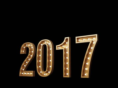New Year. Glowing numbers 2017 on a black background. Isolated on black