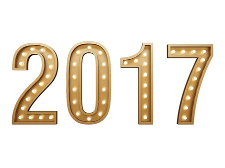 New Year. Glowing numbers 2017 on a white background. Isolated on white Stock Photo