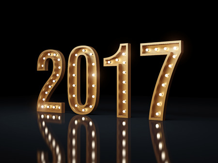 New Year. Glowing numbers 2017 on a black background. 3D render