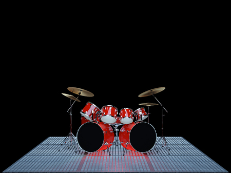 Red drum kit is on the floor of a metal lattice. Reklamní fotografie