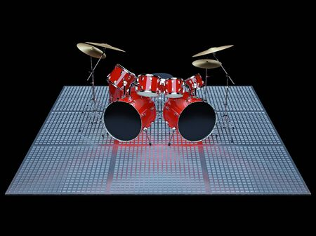 Red drum kit is on the floor of a metal lattice. Stock Photo