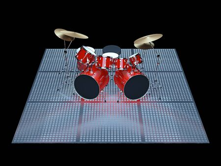 bass drum: Red drum kit is on the floor of a metal lattice. Stock Photo