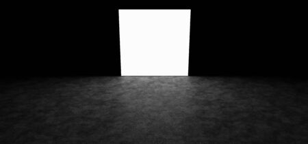 freemasonry: Glowing square in a dark room Stock Photo