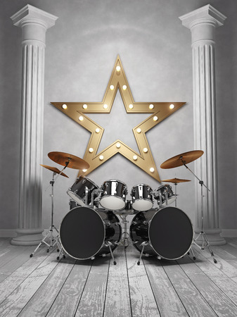 Interior with drum kit, two columns and a gold star. 3D Render