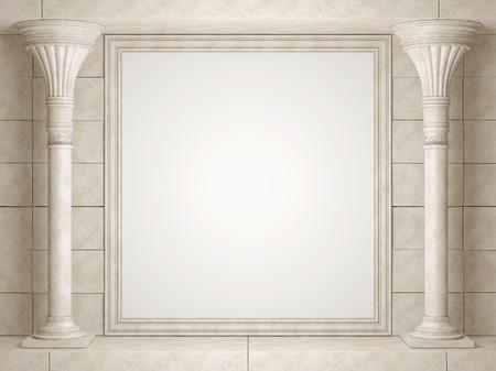 빈 빌보드와 오래 된 벽의 배경에 클래식 콜로 네 이드. 3D 렌더링