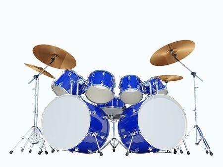 Blauwe drumstel op een witte achtergrond. Geïsoleerd op wit. 3D Render Stockfoto