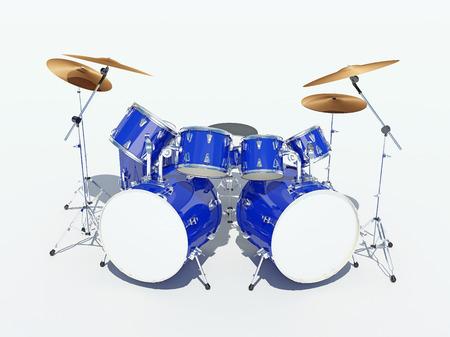 bass drum: Blue drum kit on a white background. . 3D Render