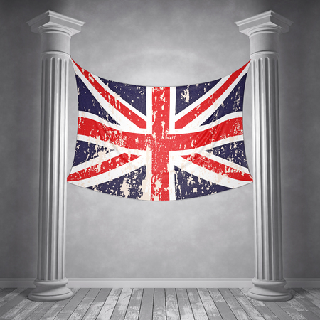 Room with two columns and hanging on the wall of the British flag. 3D Render