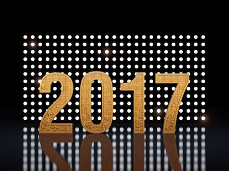 next year: New Year. Glowing numbers 2017 against the backdrop of glowing backgrounds. 3D render