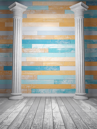 doric: Abstract gray interior with bright colored wooden decor. 3D Render Stock Photo