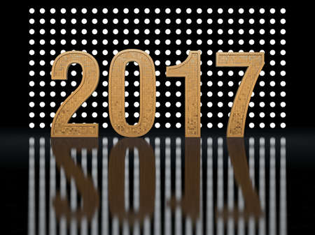 next day: New Year. Glowing numbers 2017 against the backdrop of glowing backgrounds. 3D render