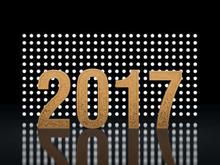 New Year. Glowing numbers 2017 against the backdrop of glowing backgrounds. 3D render