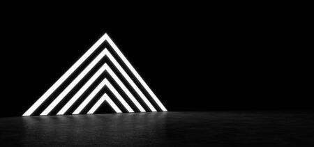 shiny floor: Pyramid consisting of glowing stripes. 3D Render Stock Photo