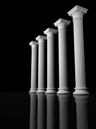 roman column: Colonnade of the classic columns in a dark space. 3D Render Stock Photo