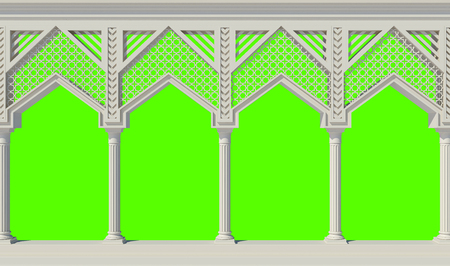 Beautiful colonnade isolated on green. 3D render Stock Photo