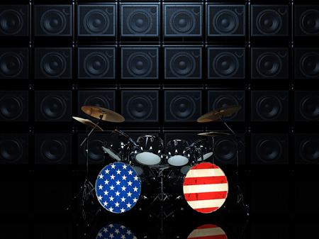 ドラムセット ギターアンプの背景の壁のアメリカの国旗に描かれています。3 D のレンダリング 写真素材