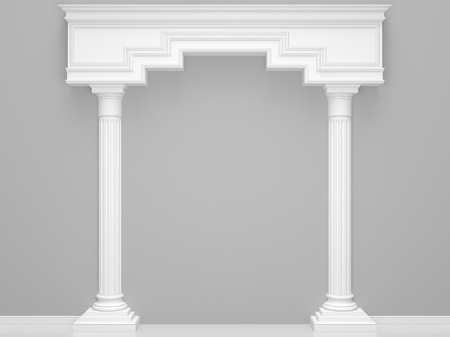 Classical portal with columns on a grey background. 3D Render