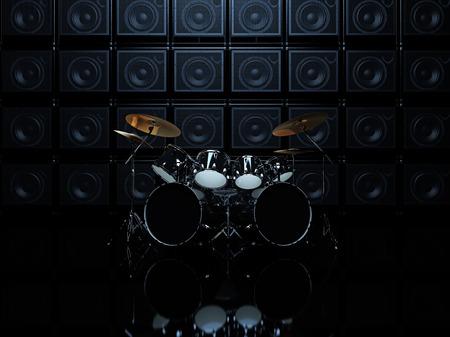 Zwarte drumstel in een donkere kamer, op een achtergrond van gitaarversterkers. 3D Render Stockfoto