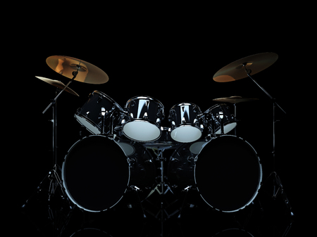 Drum set in a dark space. 3D Render