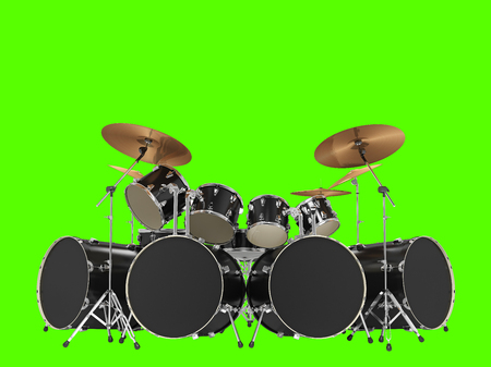 Large, cool, black drum kit. Isolated on green