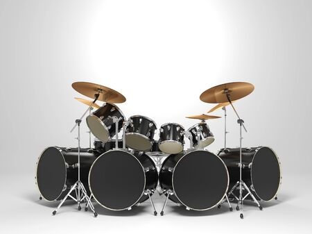Cool, black drum kit. 3D Render