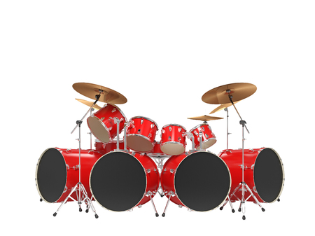 Large, cool, red drum kit. Isolated Stock Photo