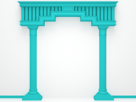 Classical portal with columns on a white background.. 3D Render
