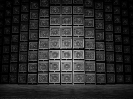ギターアンプの抽象的な壁。3 D のレンダリング