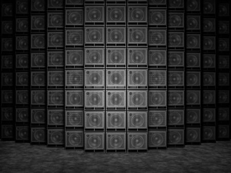 Abstract wall of guitar amps. 3D Render