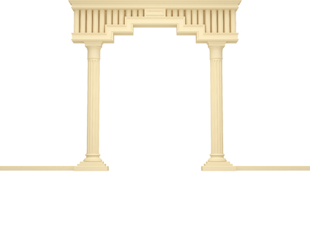 Classical portal with columns on a white background. Isolated on White. 3D Render