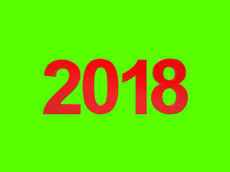 Happy new year 2018. RED numbers. Isolated on green. 3D Render Stock Photo
