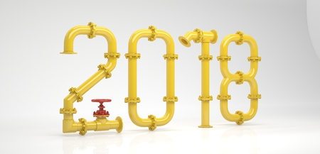 Happy new year. New 2018 year from pipes.. 3D Render