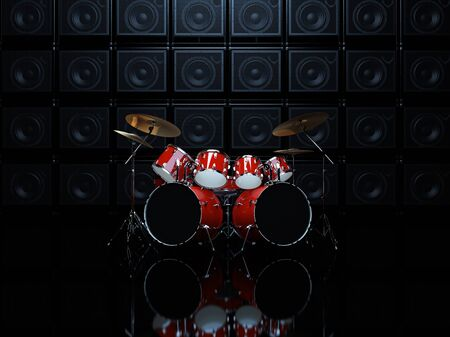 Red drum set in a dark room, on a background of guitar amps. 3D Render