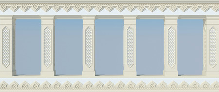 A beautiful colonnade with columns and carved in Arabic style. Front view. 3D render Stock Photo