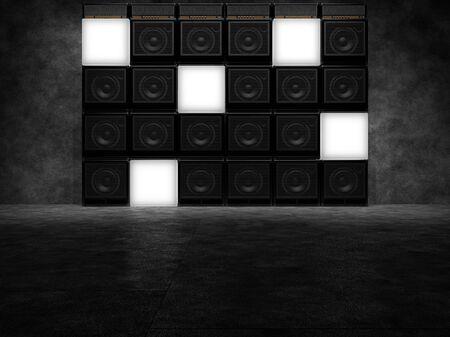 ギターアンプの収音と発光のキューブの壁。3 D のレンダリング