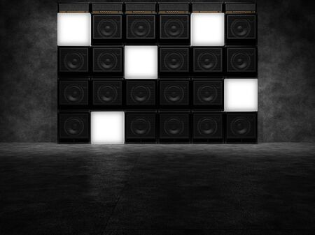 Wall of guitar amps and luminous cubes. 3D Render