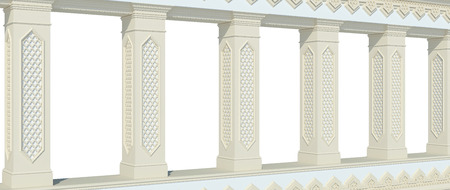 A beautiful colonnade with columns and carved in Arabic style. Front view. Isolated on white. 3D render