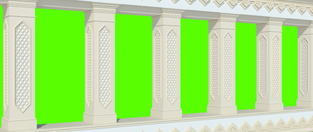 A beautiful colonnade with columns and carved in Arabic style. Front view. Isolated on green. 3D render
