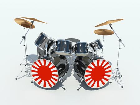 Drum set painted in an Japanese flag. 3D Render
