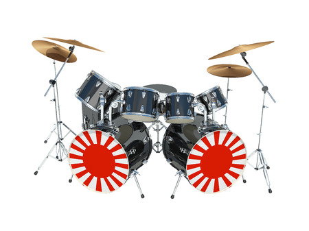 Drum set painted in an Japanese flag. Isolated on white. 3D Render