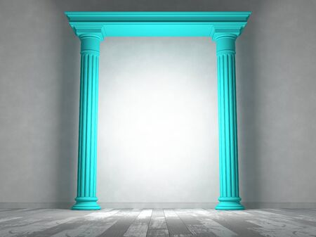 Classical portal with columns in an empty room with parquet floors and light-colored walls
