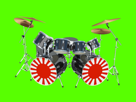 Drum set painted in an Japanese flag. Isolated on green. 3D Render Foto de archivo