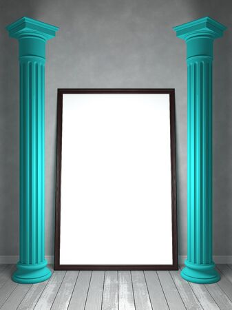 Empty room in shades of gray, with columns and an empty frame