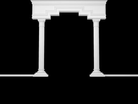 Classical portal with columns isolated on black. 3D Render Stok Fotoğraf - 95059959