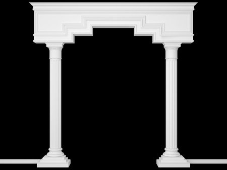 Classical portal with columns isolated on black. 3D Render Stok Fotoğraf - 94880762