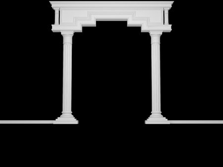 Classical portal with columns isolated on black. 3D Render