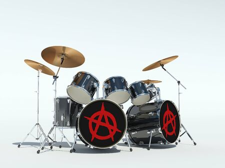 Drum set with anarchy sign. 3D Render Stock Photo