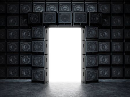 Epic portal of guitar amps Stock Photo